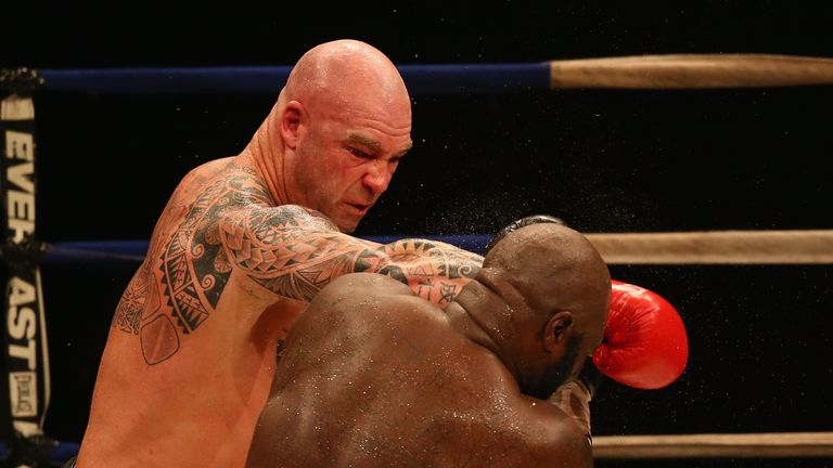 MELBOURNE, AUSTRALIA - APRIL 28:  Lucas Browne of Australia and James Toney of the USA fight during the WBC Super Heavyweight bout between Lucas Browne and