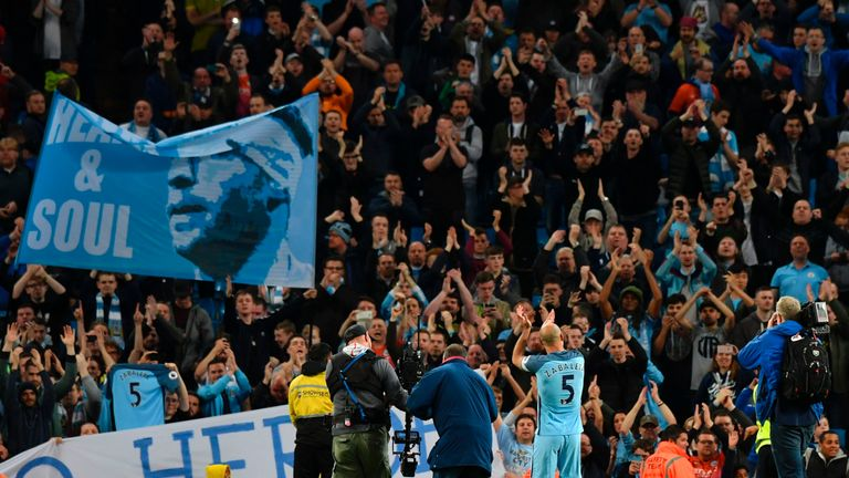 Manchester City's Argentinian defender Pablo Zabaleta takes the applause of the crowd in tribute for his final home appearance for the club