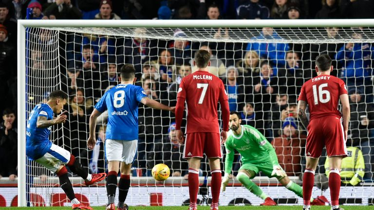 James Tavernier scores from the penalty spot to put the hosts ahead early after Jason Holt was fouled