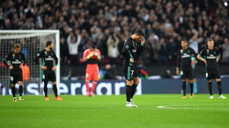 LONDON, ENGLAND - NOVEMBER 01:  Cristiano Ronaldo of Real Madrid looks dejected during the UEFA Champions League group H match between Tottenham Hotspur an