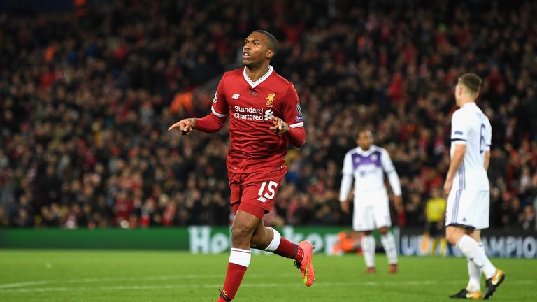 LIVERPOOL, ENGLAND - NOVEMBER 01: Daniel Sturridge of Liverpool celebrates scoring his sides third goal during the UEFA Champions League group E match betw