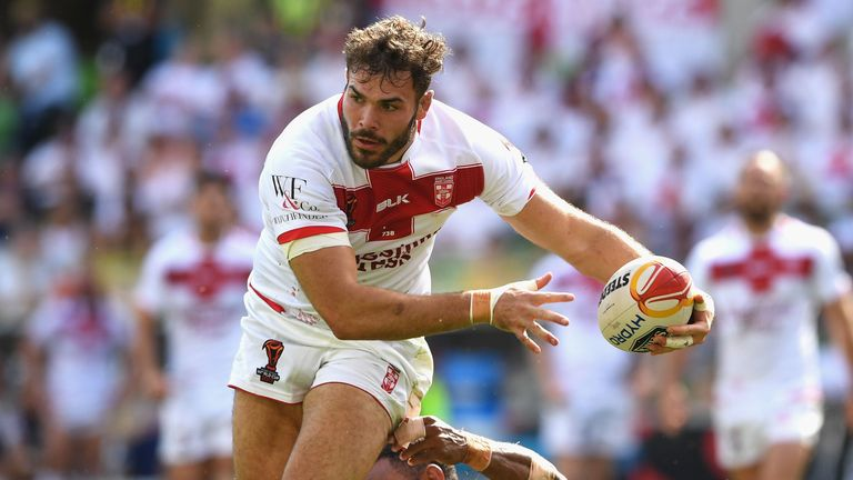 Saints forward Alex Walmsley on the charge for England