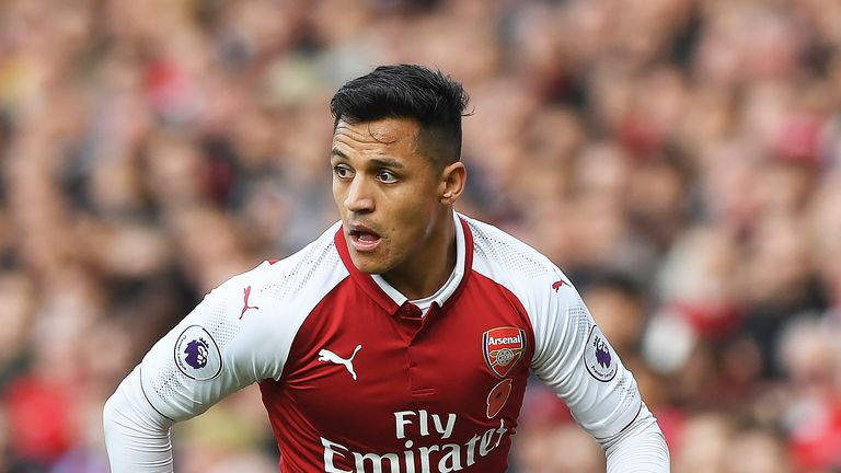 Alexis Sanchez in action during the Premier League match between Arsenal and Swansea City at Emirates Stadium
