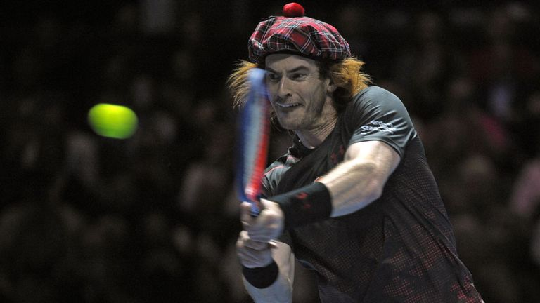Murray sported a tartan hat during a charity match against Roger Federer