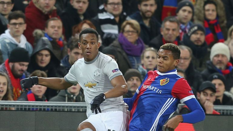 Manchester United's Anthony Martial in action against Basel