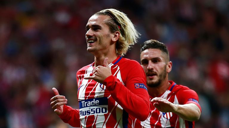 MADRID, SPAIN - SEPTEMBER 27, 2017: Antoine Griezmann of Atletico Madrid celebrates after he scores his side's first goal from the penalty spot v Chelsea.