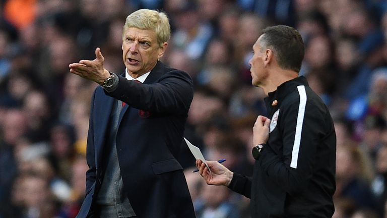 Arsenal's manager Arsene Wenger was fuming with the officials after his side's 3-1 defeat by Man City