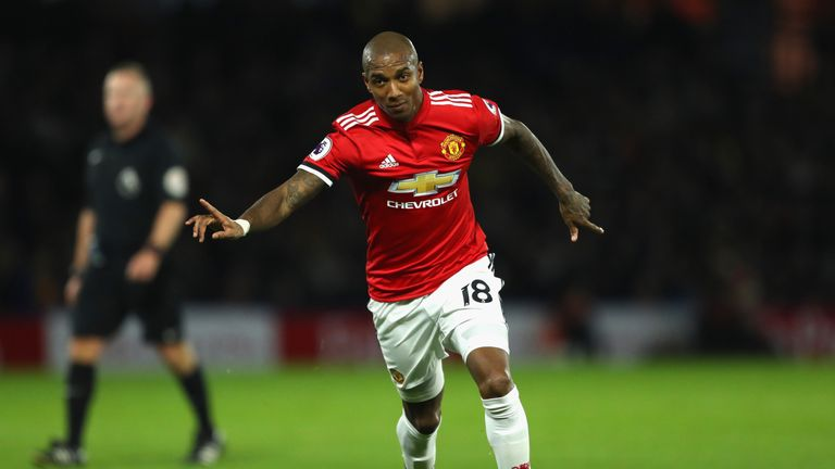 Ashley Young celebrates scoring Manchester United's second against Watford