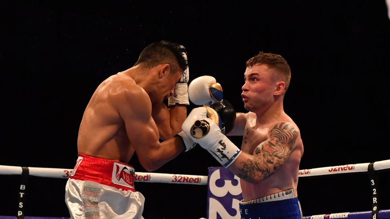 Carl Frampton made a successful ring return beating Horacio Garcia on points