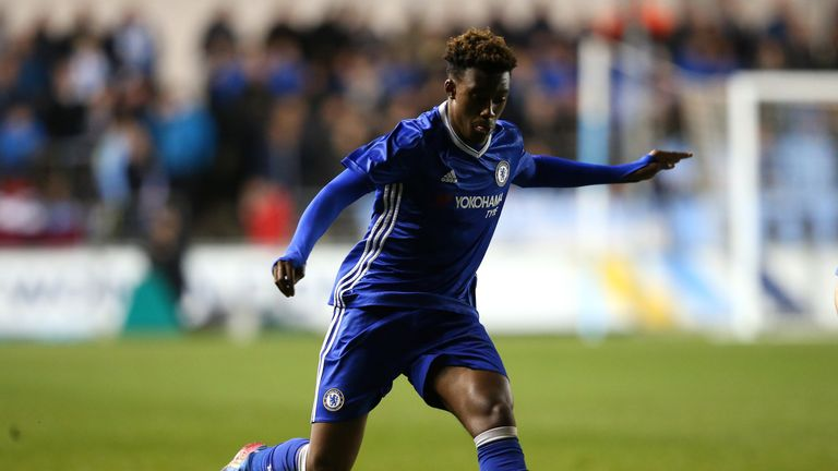 MANCHESTER, ENGLAND - APRIL 18:  Callum Hudson-Odoi of Chelsea during the FA Youth Cup Final first leg match between of Manchester City and Chelsea at The