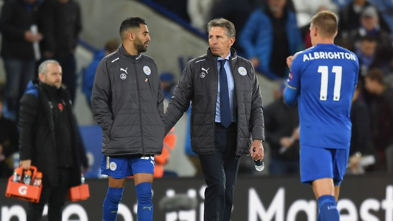 LEICESTER, ENGLAND - OCTOBER 29:  Riyad Mahrez of Leicester City and Claude Puel, Manager of Leicester City in discussion after the Premier League match be