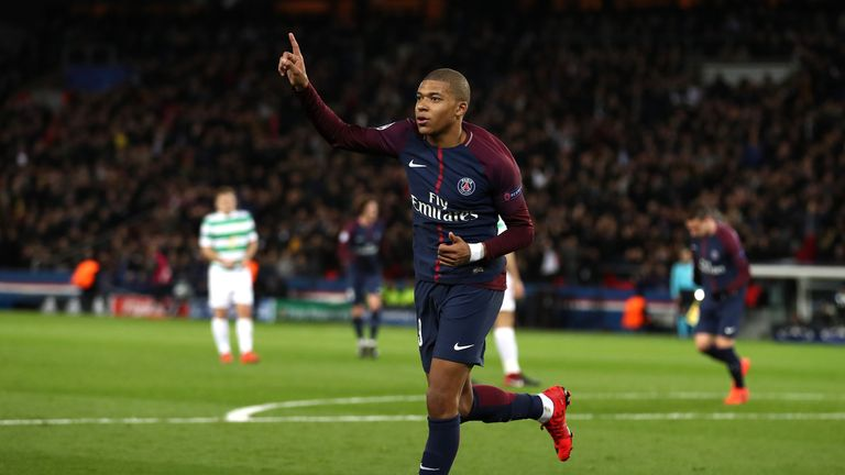 Kylian Mbappe scored PSG's fourth goal of the evening