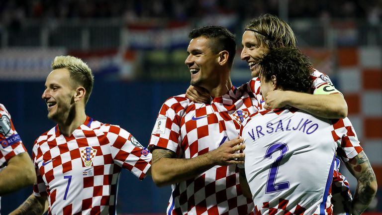 Croatia players celebrate during their 4-1 win over Greece in the play-off 069ed051c
