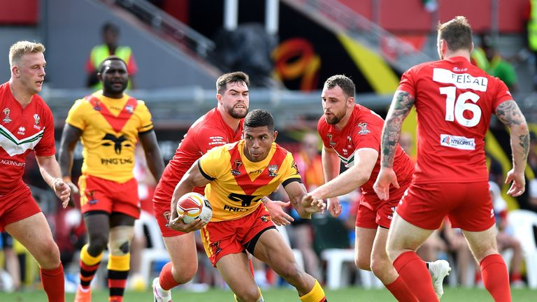 David Mead scored Papua New Guinea's first Rugby League World Cup hat-trick in Saturday's 50-6 victory over Wales