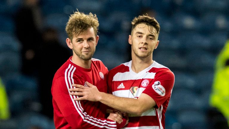 Hamilton's goalscorers David Templeton and Darren Lyon savour the win