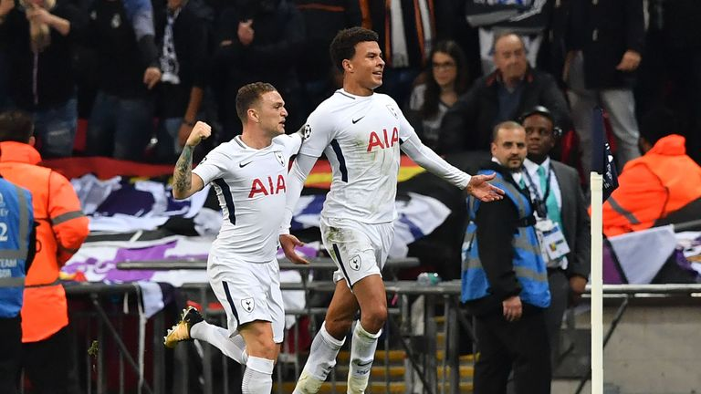 Tottenham Hotspur's Dele Alli (R) celebrates with Kieran Trippier after scoring the opening goal v Real Madrid at Wembley in the Champions League