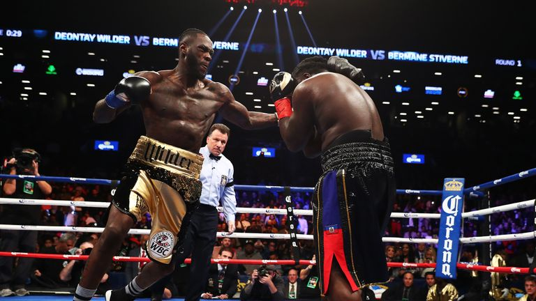 NEW YORK, NY - NOVEMBER 04:  Deontay Wilder punches Bermane Stiverne during their rematch for Wilder's WBC heavyweight title at the Barclays Center on Nove