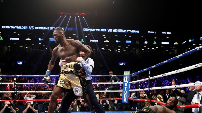NEW YORK, NY - NOVEMBER 04:  Deontay Wilder knocks out Bermane Stiverne in the first round during their rematch for Wilder's WBC heavyweight title at the B