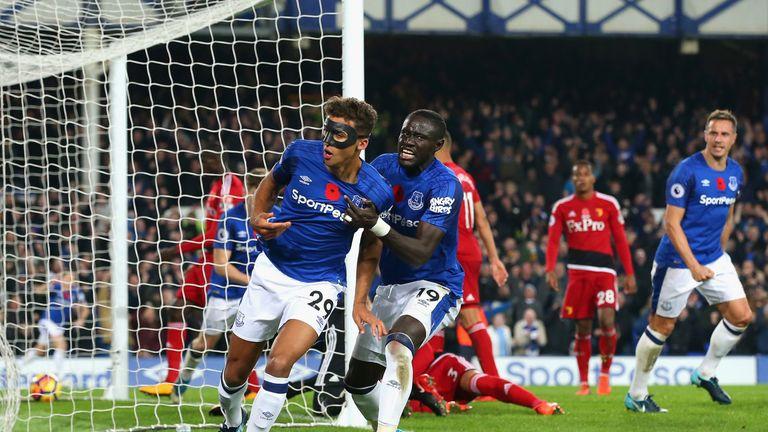 Dominic Calvert-Lewin of Everton celebrates scoring against Watford
