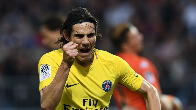 Edinson Cavani scored twice against Angers