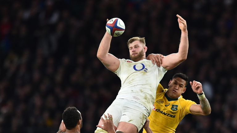 England's lock George Kruis wins a high ball during the international rugby union test match between England and Australia at Twickenham stadium in south-w