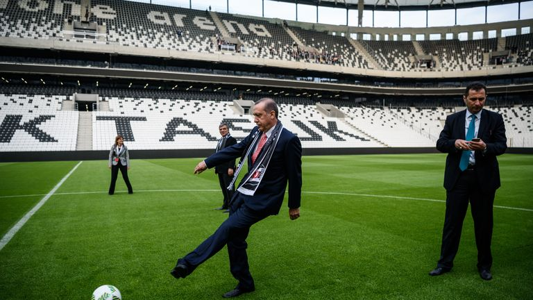 Turkish President Recep Tayyip Erdogan was at the opening of Besiktas' new Vodafone Arena, which will host the 2019 UEFA Super Cup