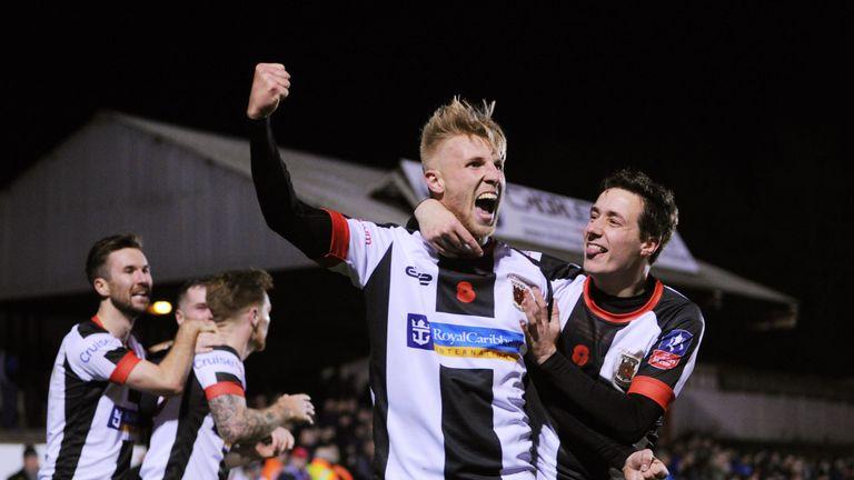 Chorley's George Glendon celebrates after scoring against Fleetwood