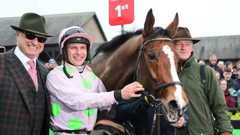 Winning owner Rich Ricci (left) with jockey Paul Townend and trainer Willie Mullins in the parade ring after Faugheen wins the Unibet Morgiana Hurdle