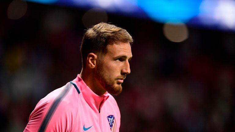 Atletico Madrid's Slovenian goalkeeper Jan Oblak looks on as he warms up before the UEFA Champions League Group C football match Club Atletico de Madrid vs