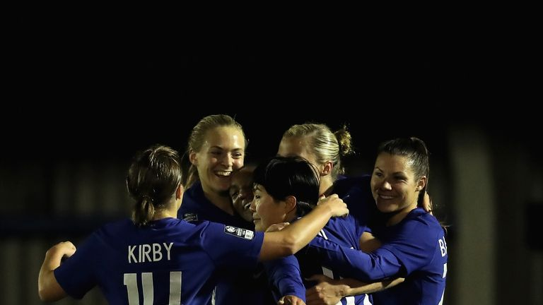 Gilly Flaherty celebrates with her Chelsea team-mates after scoring her sides third goal