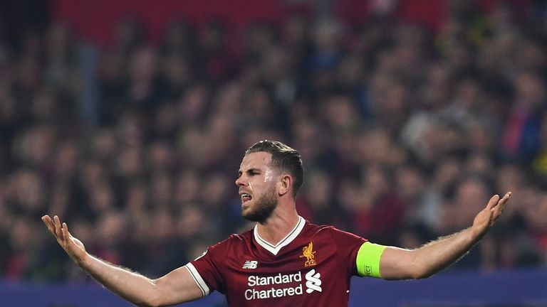 SEVILLE, SPAIN - NOVEMBER 21:  Jordan Henderson of Liverpool reacts during the UEFA Champions League group E match between Sevilla FC and Liverpool FC at E