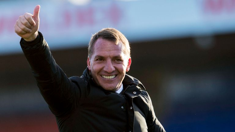 Brendan Rodgers gives the thumbs up following Celtic's 1-0 win at Ross County