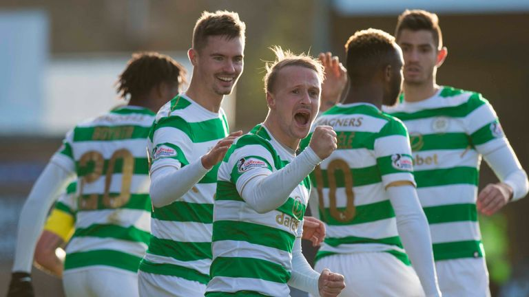 Celtic's Leigh Griffiths celebrates his winner with team-mates
