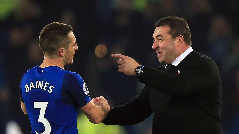 Everton caretaker manager David Unsworth (right) celebrates victory with Leighton Baines after their win over Watford