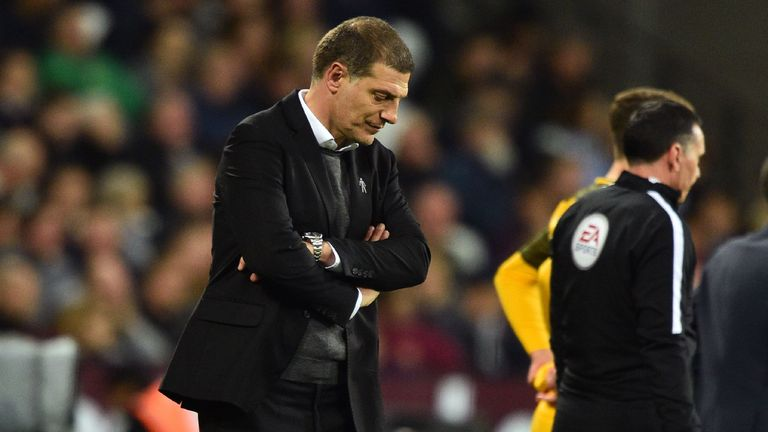 Bilic cut a dejected figure during West Ham's home loss to Brighton