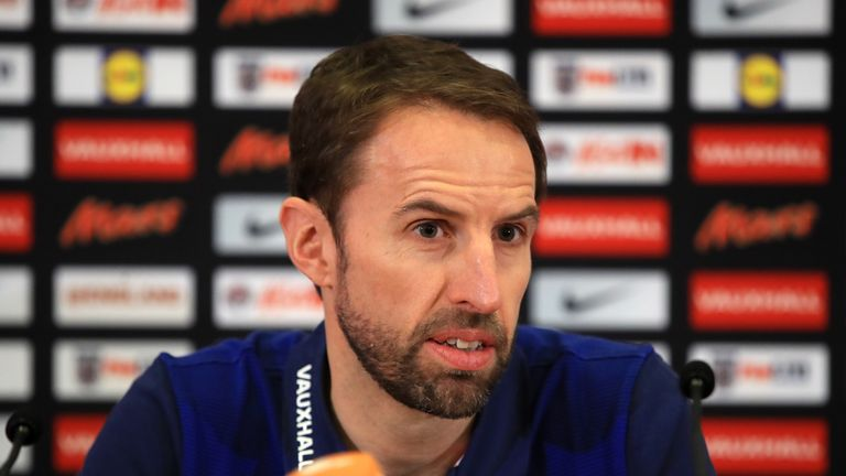 England manager Gareth Southgate addresses the media during the press conference at St George's Park