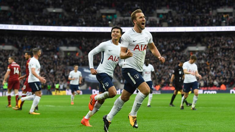 Harry Kane celebrates with Dele Ali after scoring Tottenahms's fourth and his second goal of the game