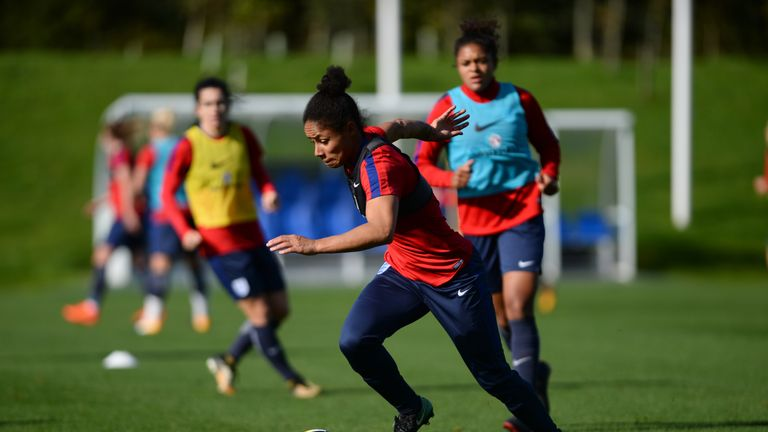 BURTON-UPON-TRENT, ENGLAND - OCTOBER 17: Demi Stokes of England Women during a Training Session at St Georges Park on October 17, 2017 in Burton-upon-Trent