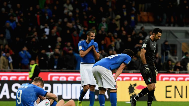 Italy players after losing out in World Cup play-off to Sweden