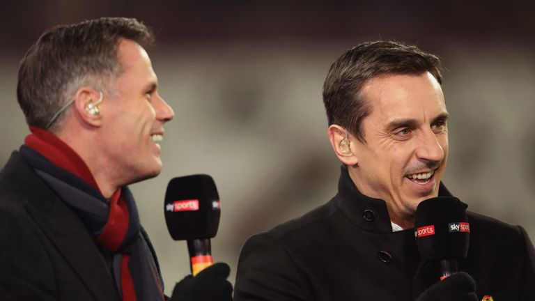 LONDON, ENGLAND - NOVEMBER 24:  Pundits Jamie Carragher (L) and Gary Neville laugh prior to the Premier League match between West Ham United and Leicester