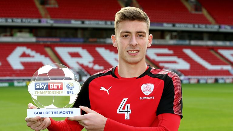 Joe Williams of Barnsley is presented with the Sky Bet Championship Goal of the Month award for October