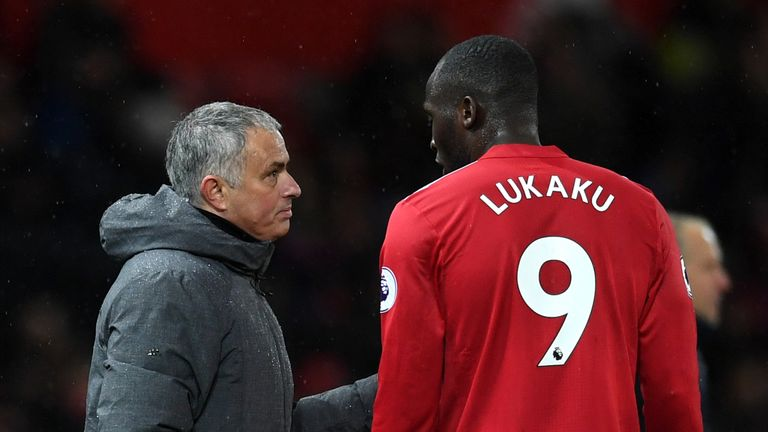 Jose Mourinho and Romelu Lukaku Manchester United v Brighton