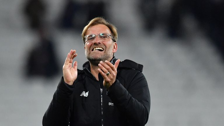 Liverpool's German manager Jurgen Klopp reacts after winning the English Premier League football match between West Ham United and Liverpool at The London