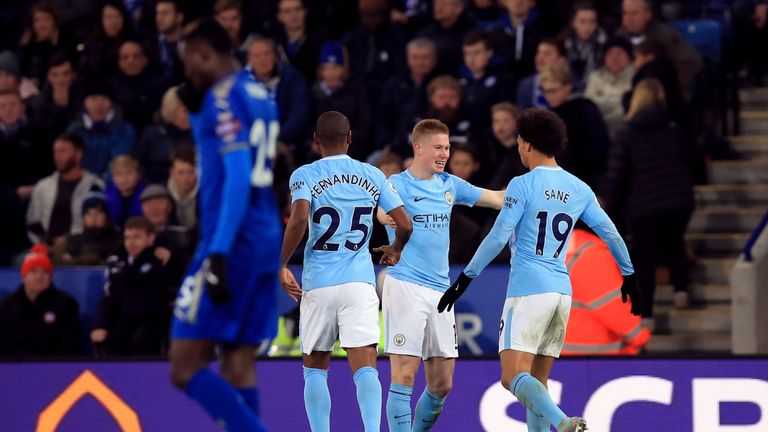 Manchester City's Kevin De Bruyne celebrates scoring his side's second goal of the game against Leicester