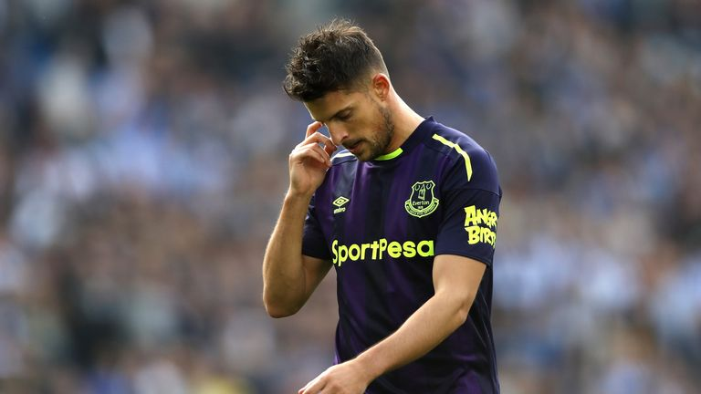 BRIGHTON, ENGLAND - OCTOBER 15:  Kevin Mirallas of Everton reacts after the Premier League match between Brighton and Hove Albion and Everton at Amex Stadi