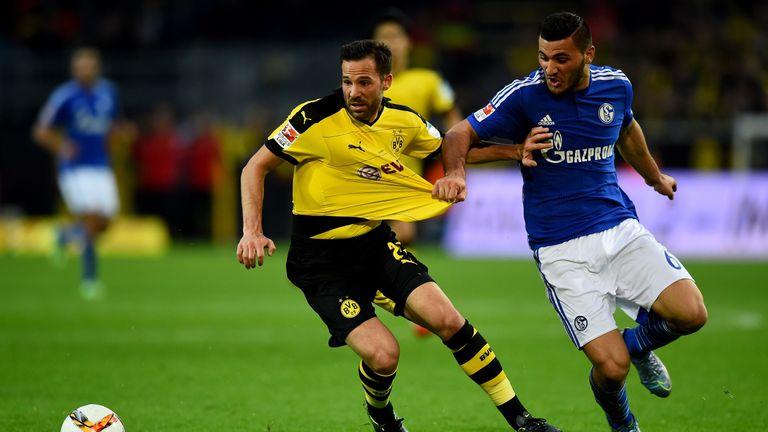 Kolasinac in action for Schalke against Dortmund in 2015