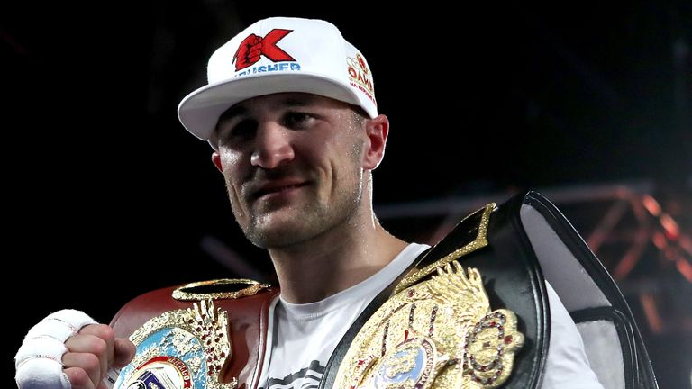 NEW YORK, NY - NOVEMBER 25:  Sergey Kovalev celebrates after defeating Vyacheslav Shabranskyy during their Light Heavyweight at The Theater at Madison Squa