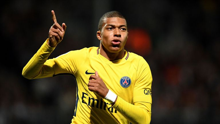 Kylian Mbappe celebrates after scoring