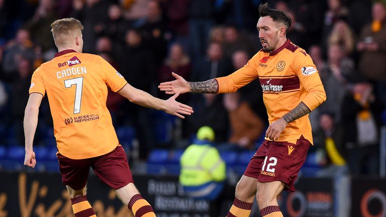 Motherwell's Ryan Bowman (R) celebrates his goal with Chris Cadden