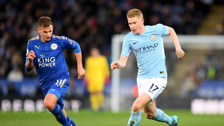 Kevin De Bruyne tries to get away from Marc Albrighton in midfield